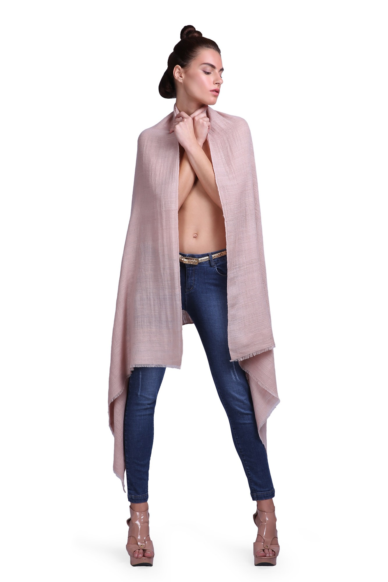 Handcrafted Cashmere Shawl - VS 10264A Old Rose