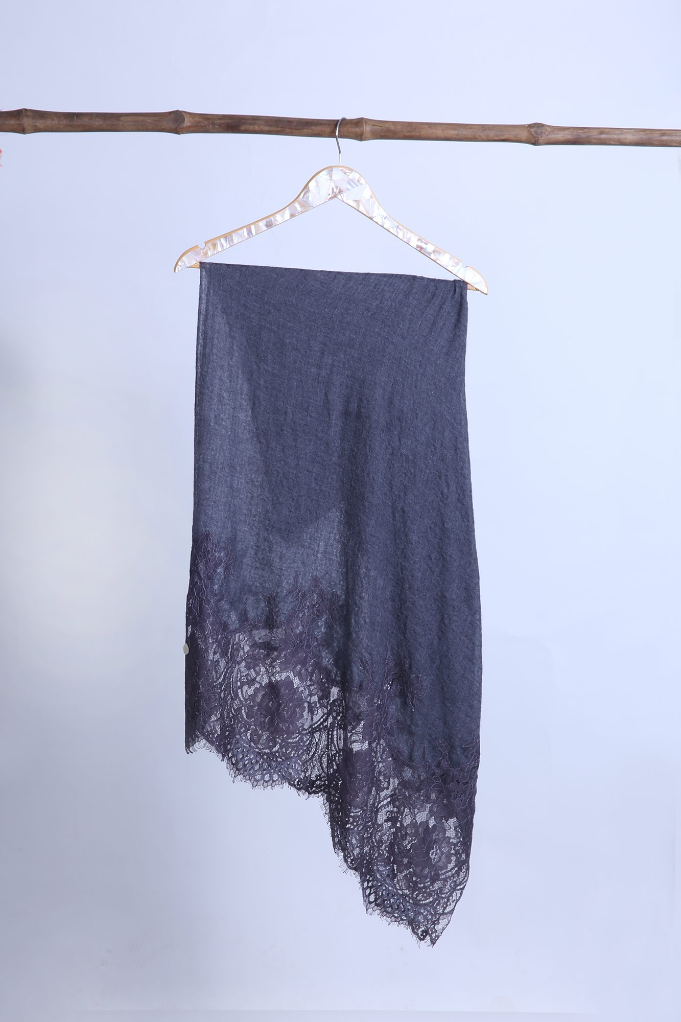 Handcrafted Cashmere Wrap Shawl with French Lace - VS 11293A Charcoal