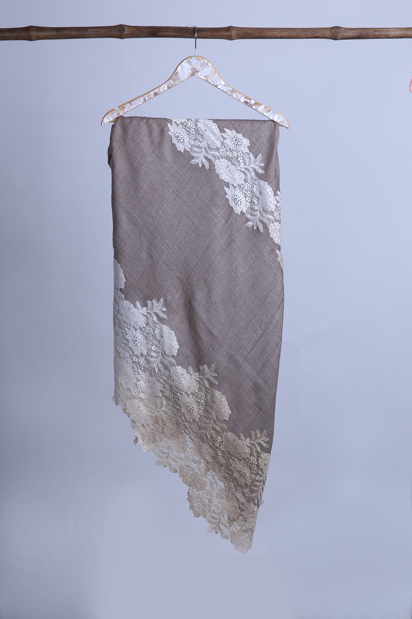 Handcrafted Wool Wrap with French Lace - VS 8579A Coffee