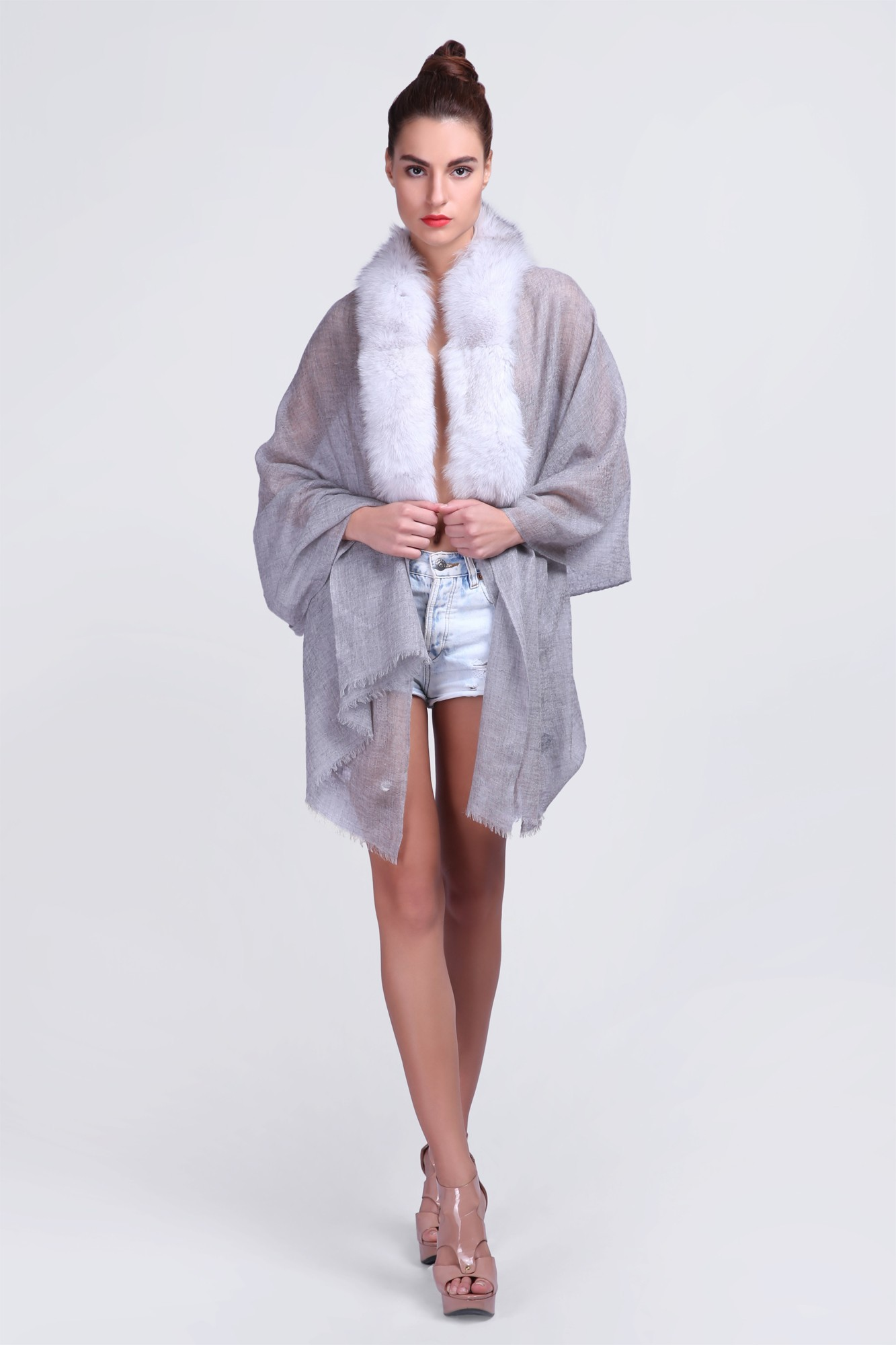 Cashmere Luxury Scarves with Fur - VS 12368A Lt.Grey Cashmere