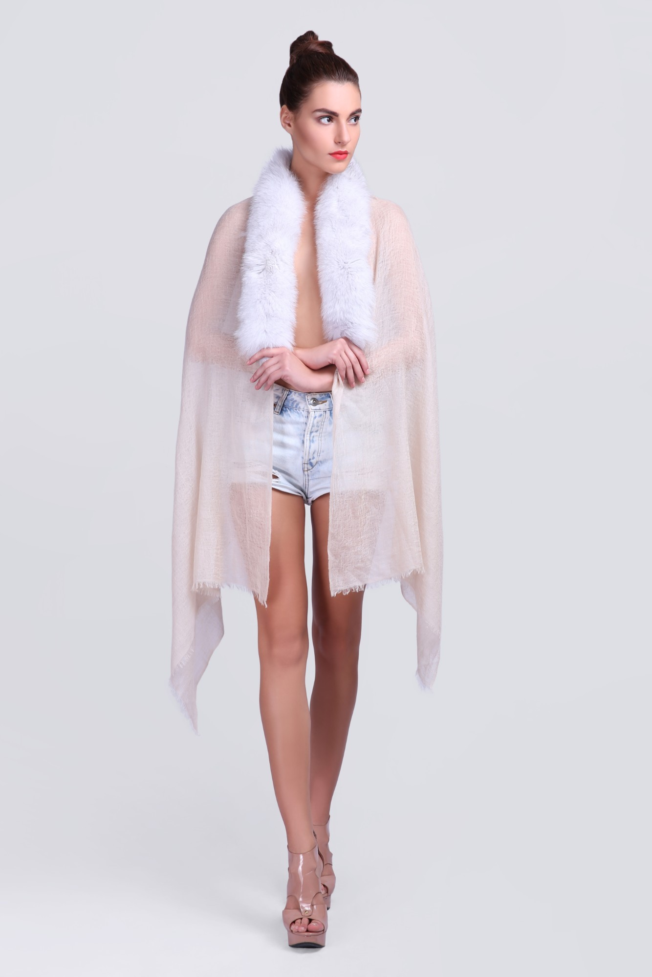 Cashmere Luxury Scarves with Fur - VS 12368A Beige Cashmere