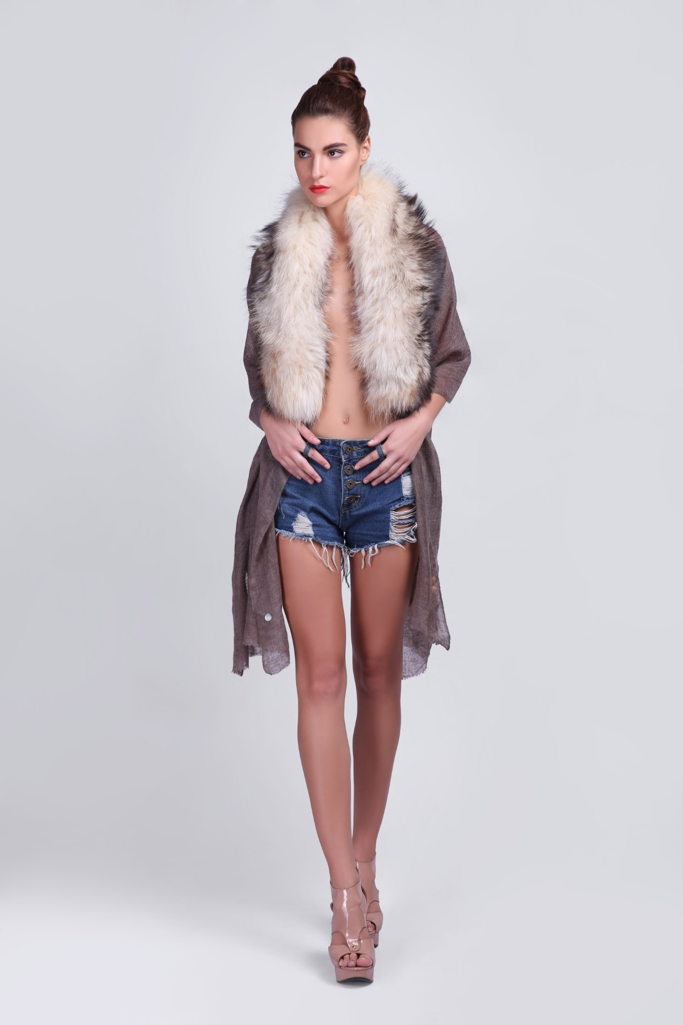 Timeless Pure Cashmere Scarf with Fur - VS 12250A Dk.Coffee