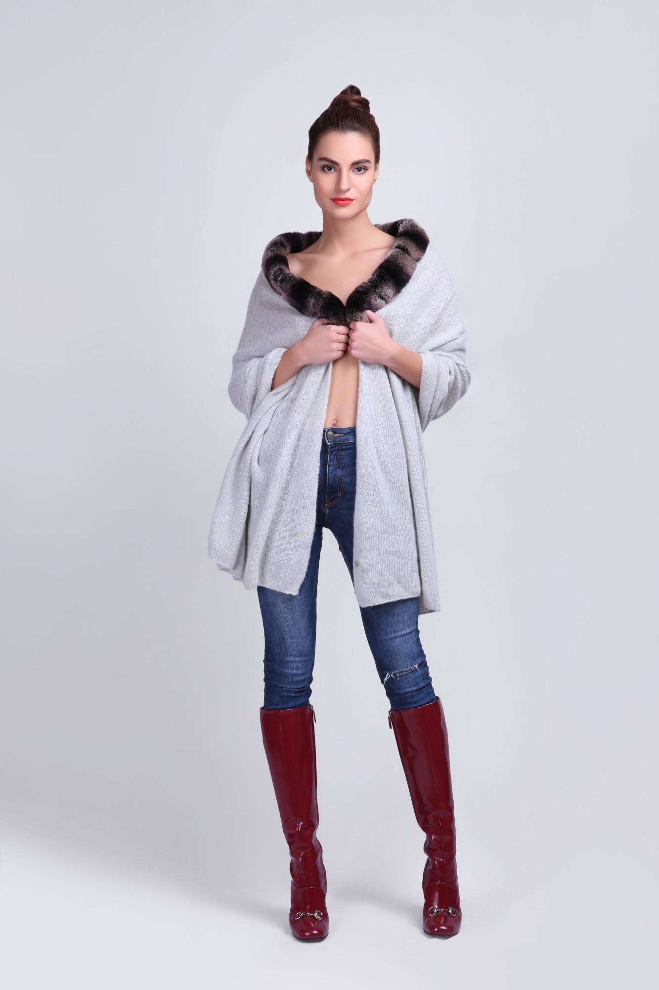 Timeless Women's Cashmere Wrap Shawl with Fur - VS 12122 Lt.Grey