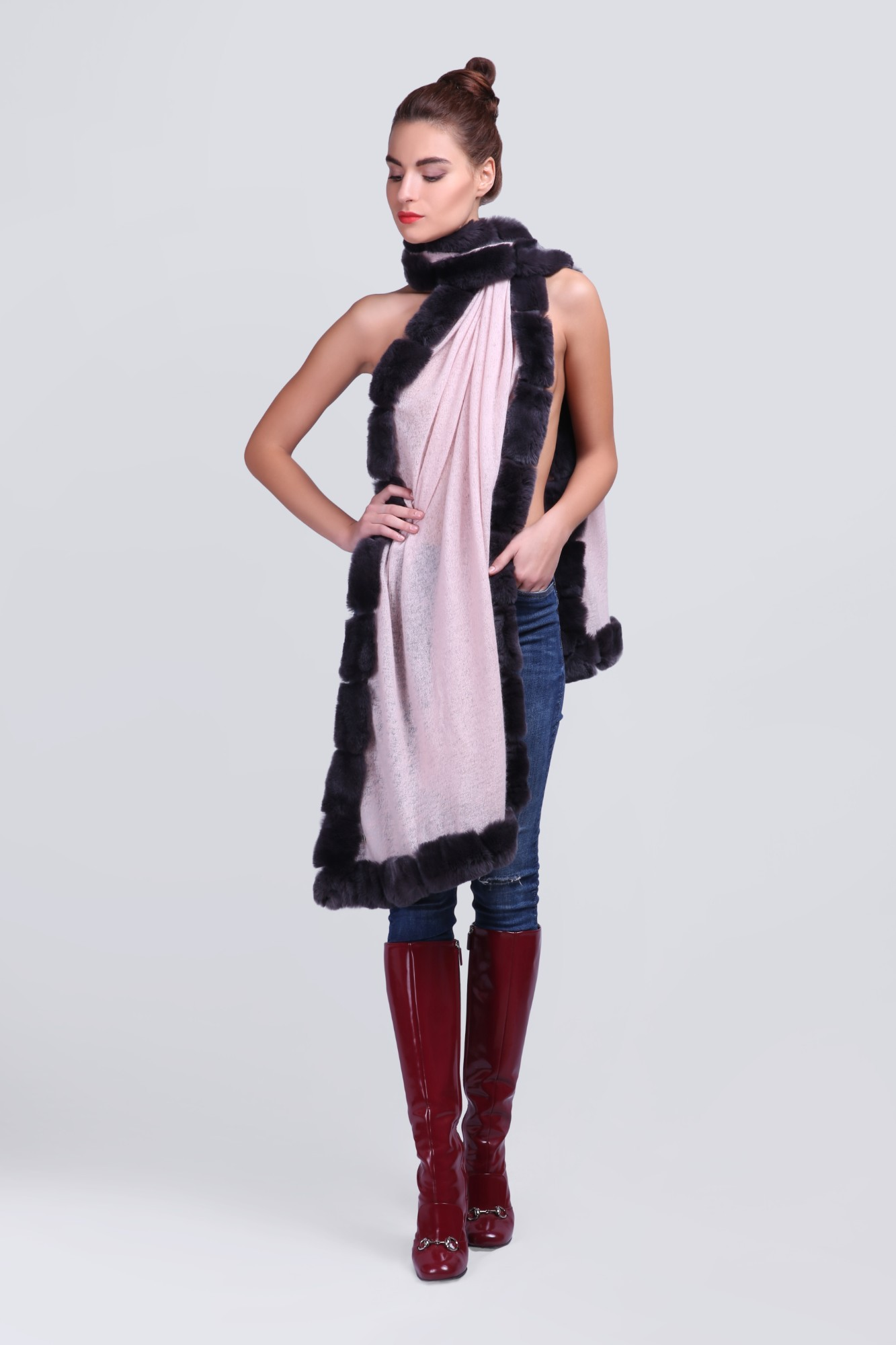 Handcrafted Cashmere with Fur - 12254 Lt.Pink