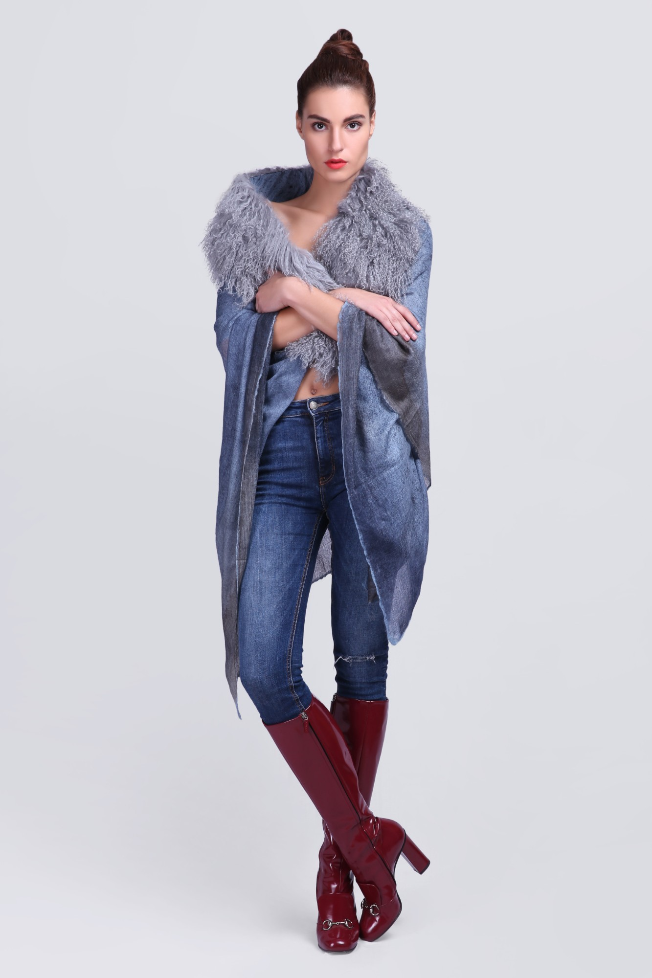 Light-Weight Cashmere Wrap with Fur - VS 12370A Blue