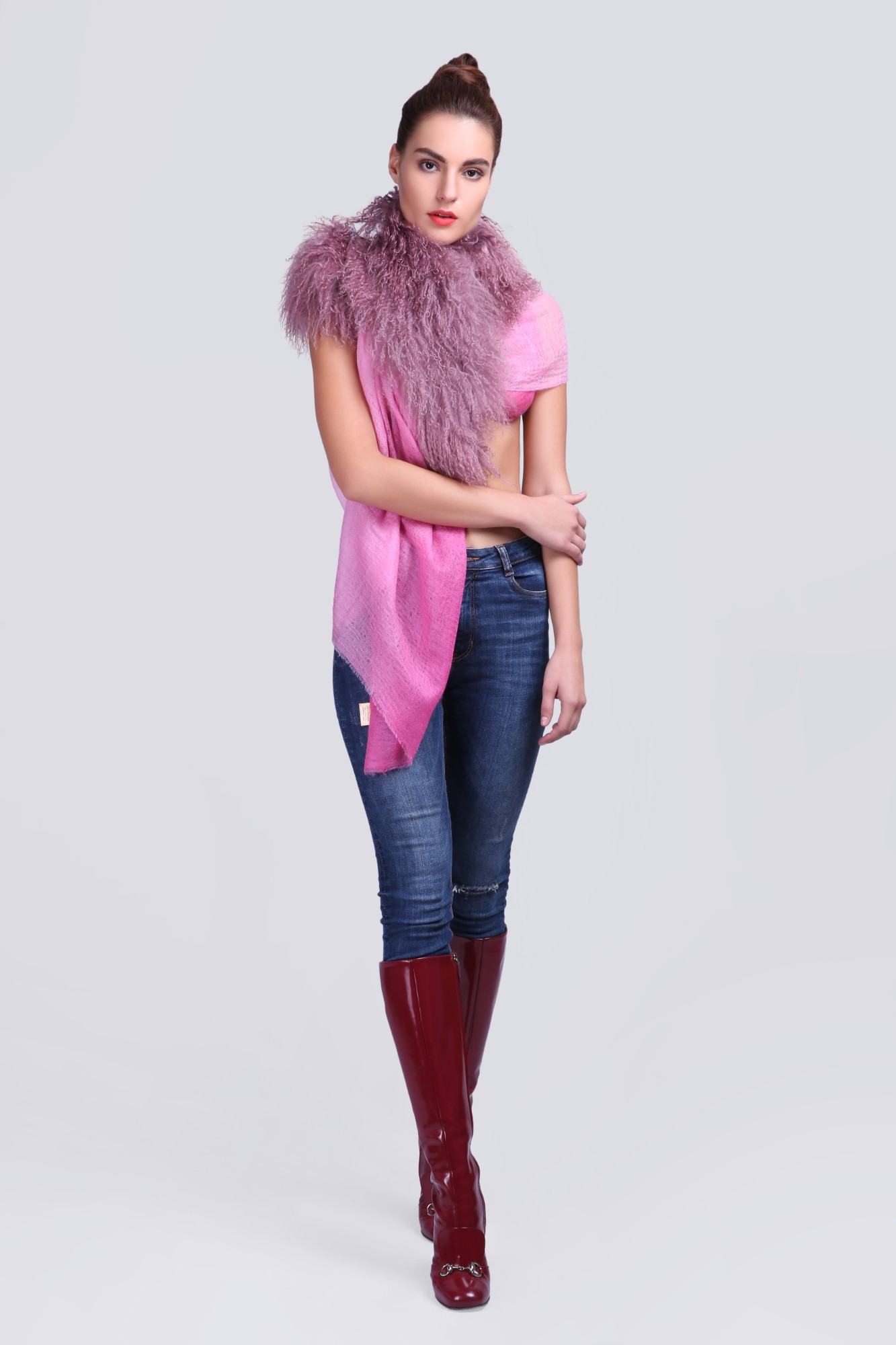 Light-Weight Cashmere Wrap with Fur - VS 12370A Pink