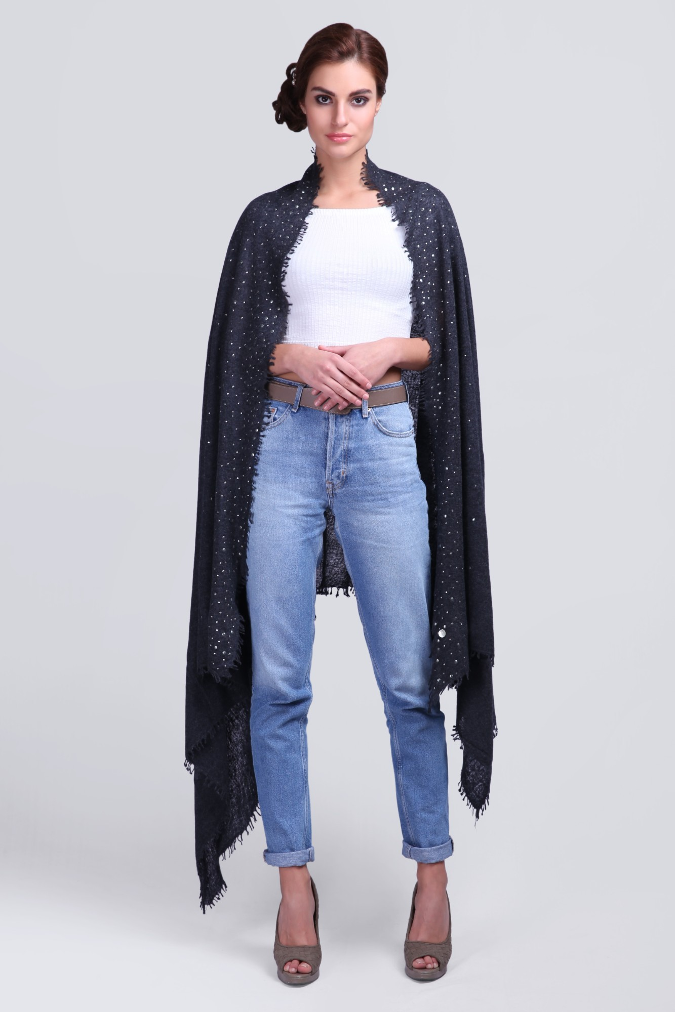 Classic Cashmere Shawl with Swarovski - VS 11988A Charcoal