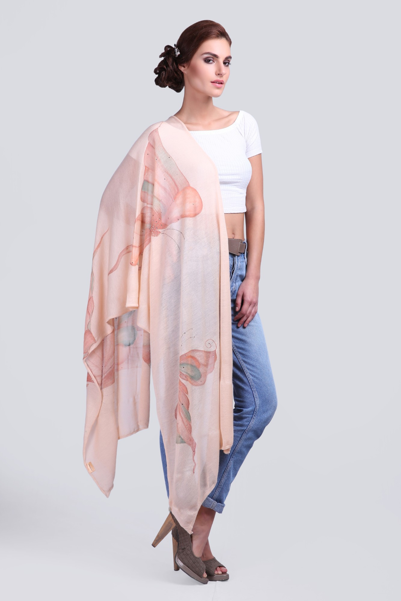 Soft Cashmere Scarf with Swarovski and Hand-paint - VS 1431A Old Rose