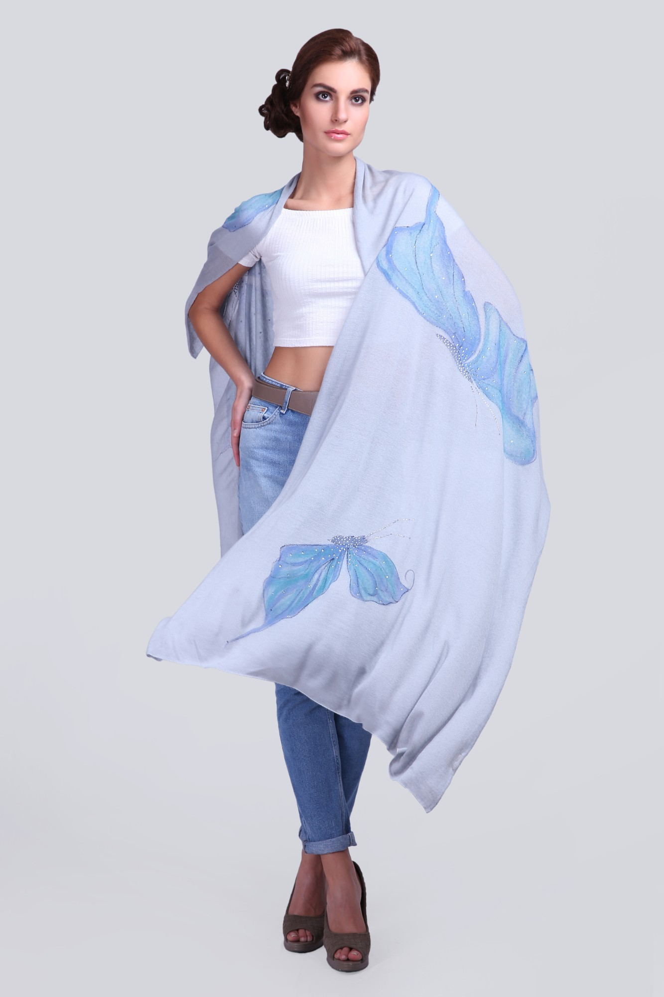 Soft Cashmere Scarf with Swarovski and Hand-paint - VS 1431A Blue