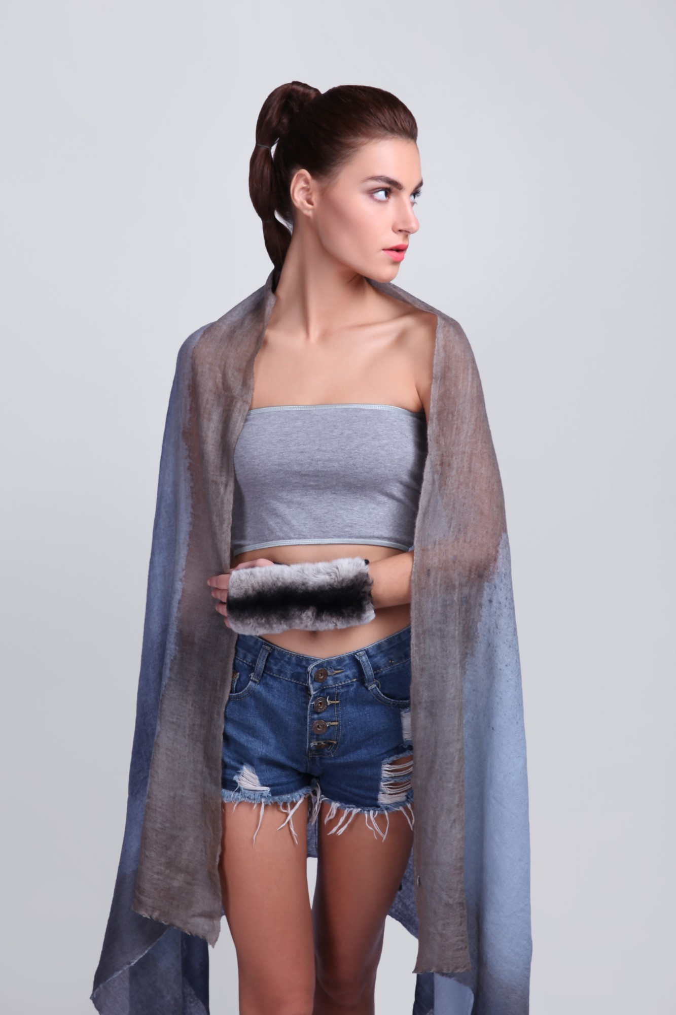 Classic Cashmere Wrap Shawl with Spray - VS 12080A Blue