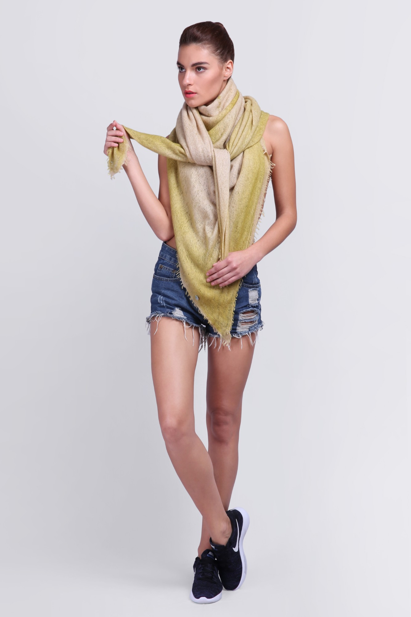 Handcrafted Classic Coral Cashmere Scarf - VS 12169A Yellow