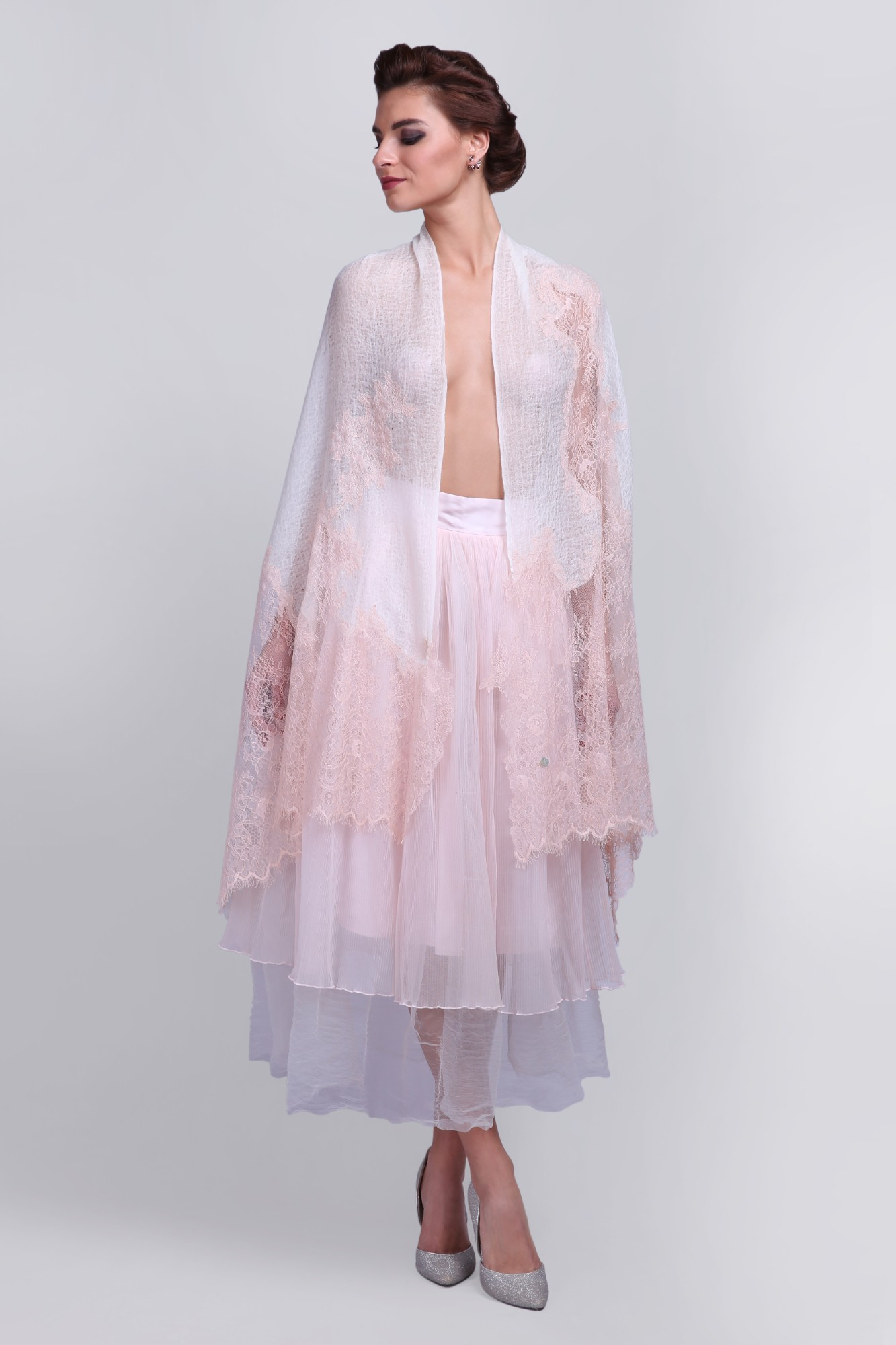 Handcrafted Cashmere Wrap Shawl with French Lace - VS 12384 Ivory