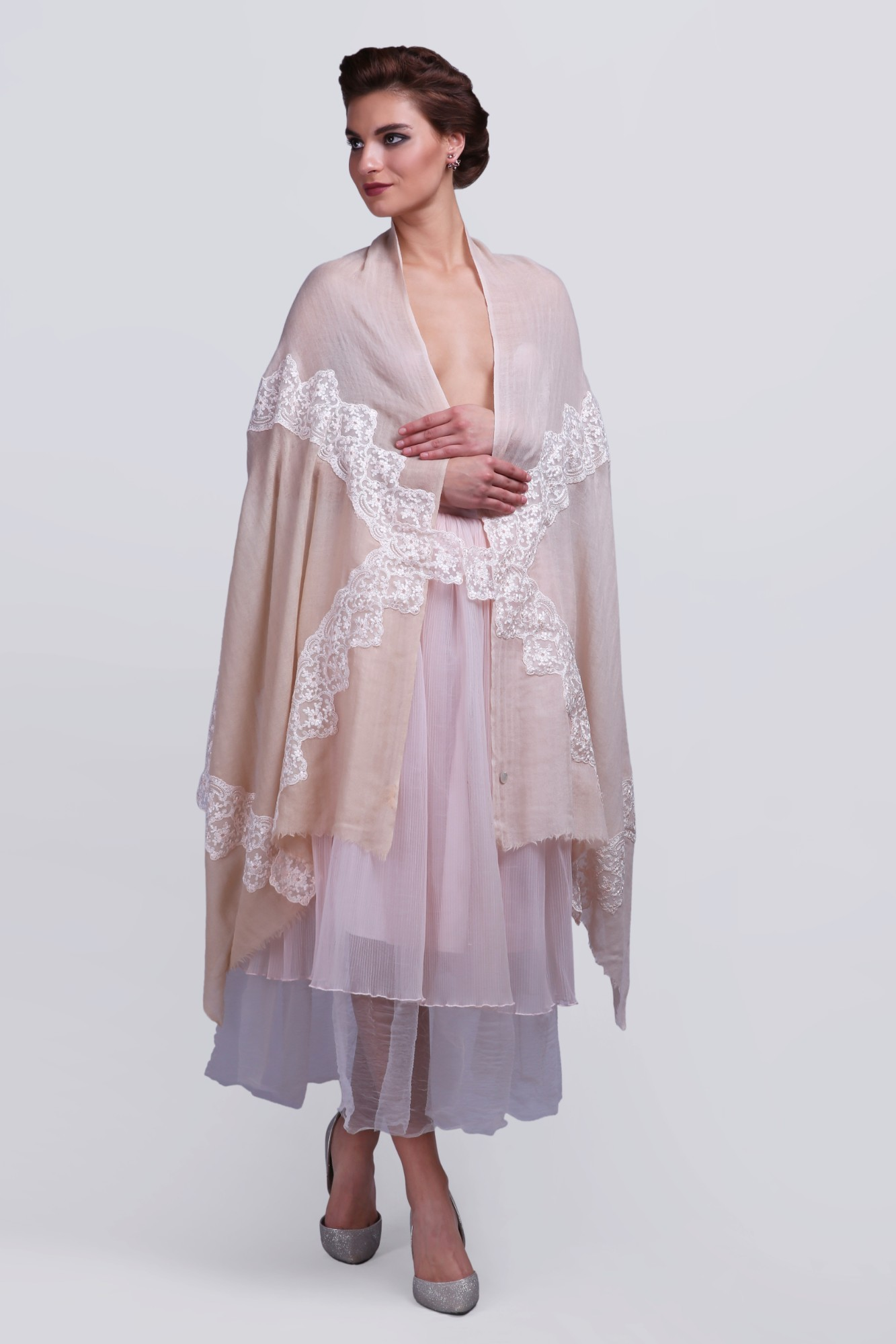 Handcrafted Cashmere Wrap Scarf with French Lace - 11930A Beige
