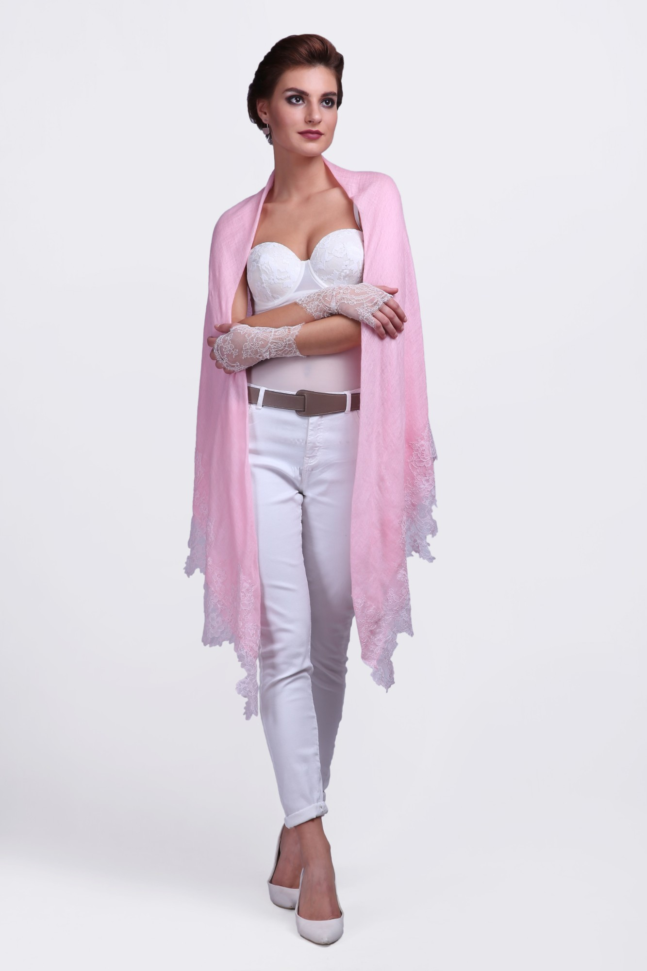 Handcrafted Cashmere Shawl with French Lace - VS 12106A - Pink