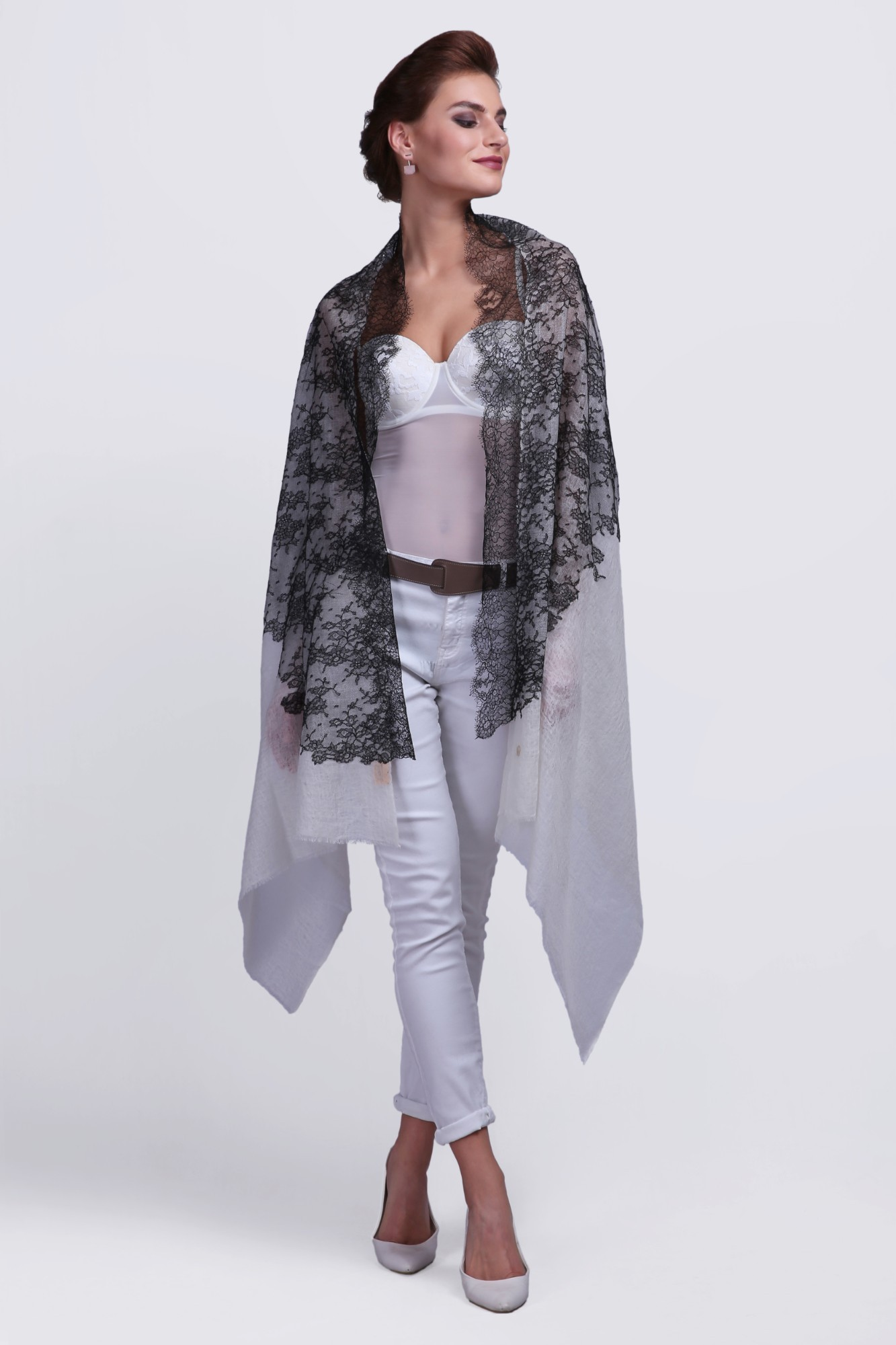 Woven Cashmere Scarf with French Lace - VS 12164A Ivory/Black