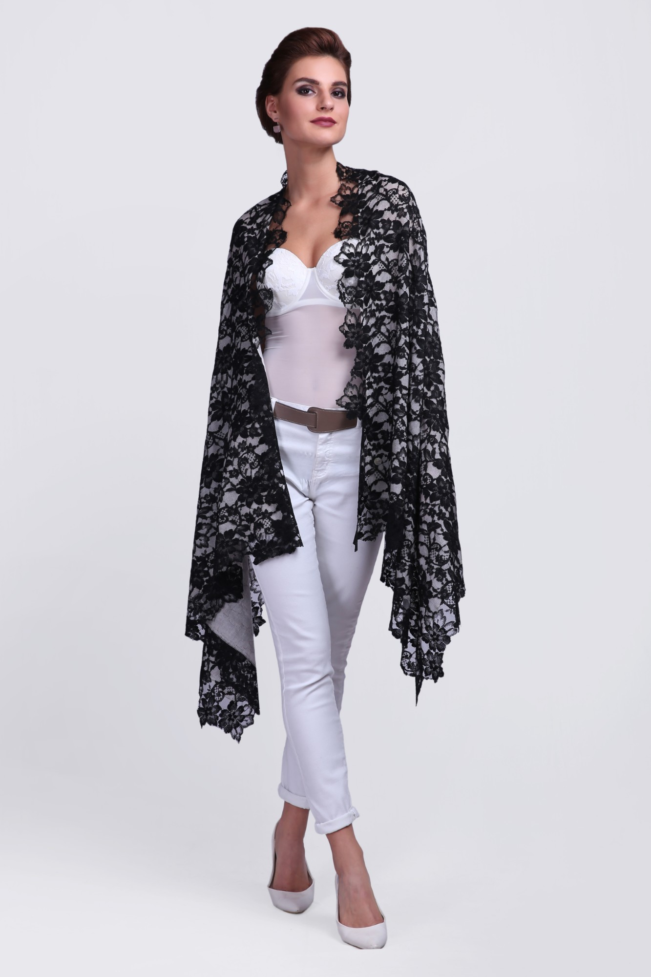 Handcrafted Light Cashmere Scarf with French Lace - 11956A Ivory/Black