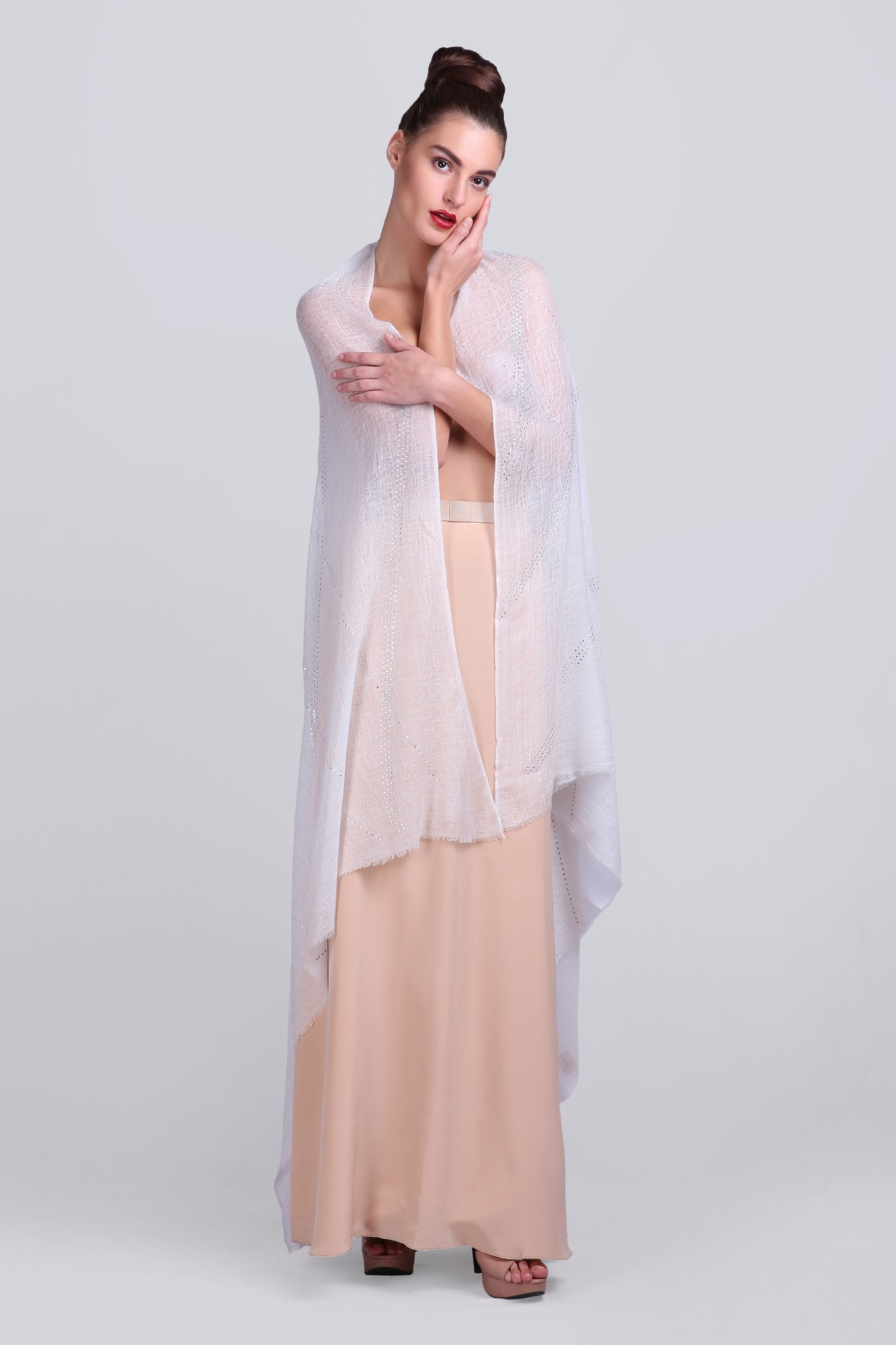 Classic Cashmere Wrap Shawl with Swarovski - VS 11876A Ivory
