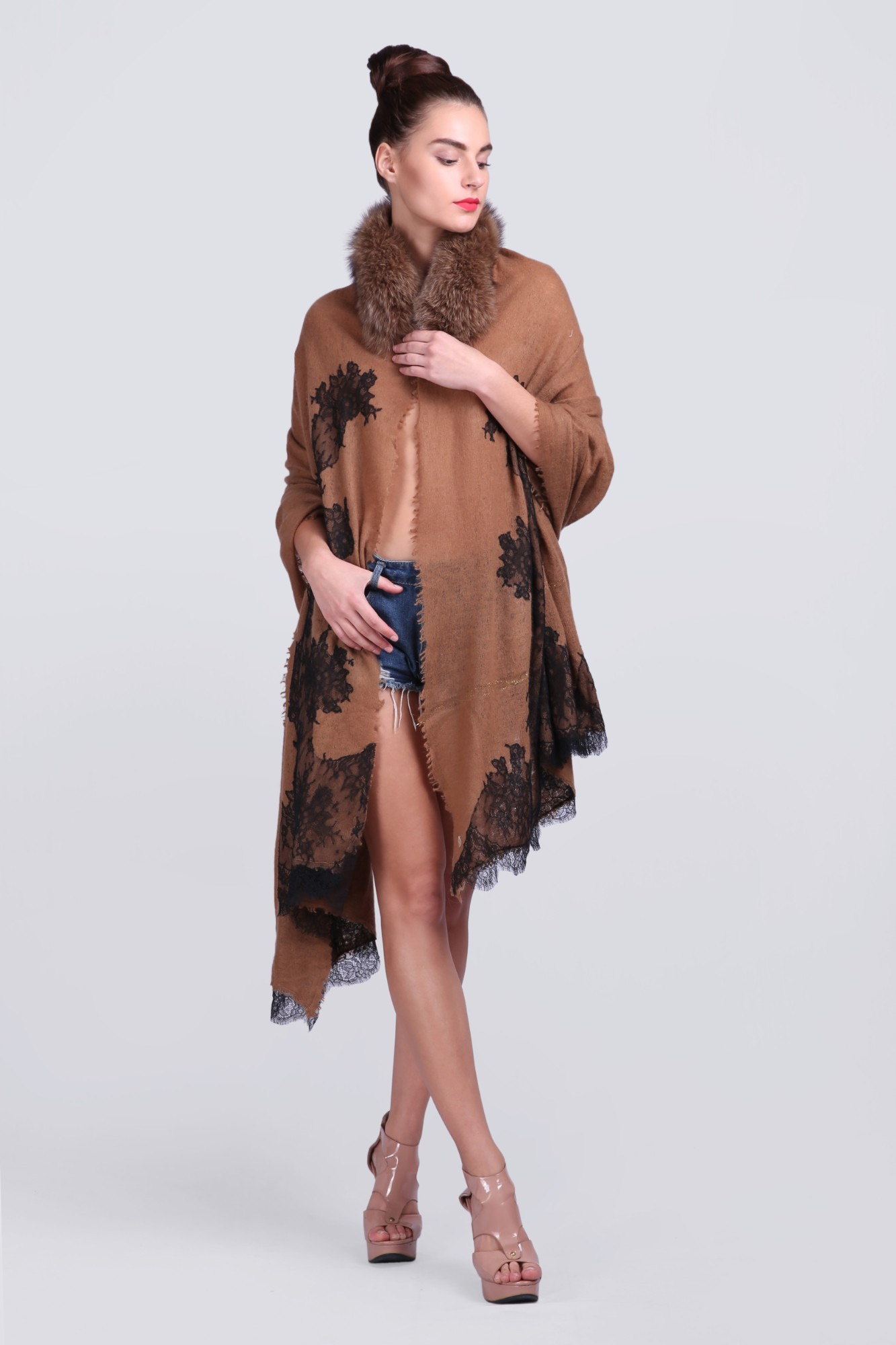 Luxury Scarves Handcrafted Cashmere with Fur - VS 11741 Brown