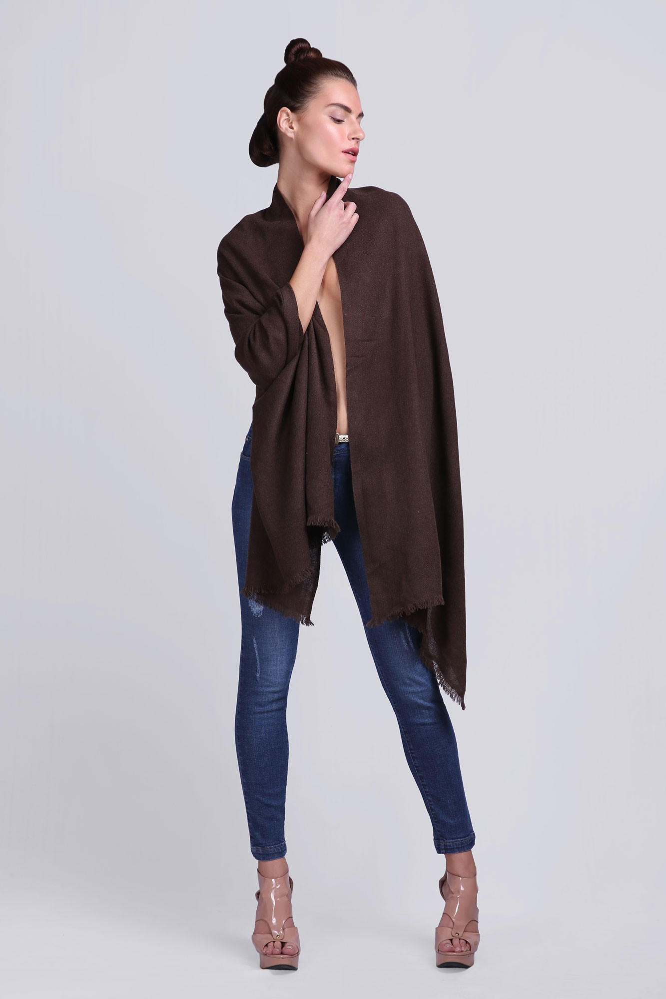 Luxury Scarves Plain Wool Solid - VS 2330 Brown